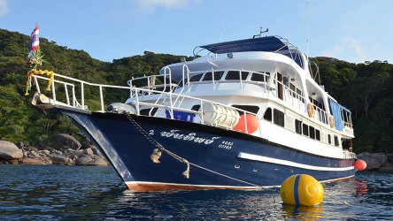 Andaman Tritan Liveaboard Moored Up At The SImilan Islands In Thailand