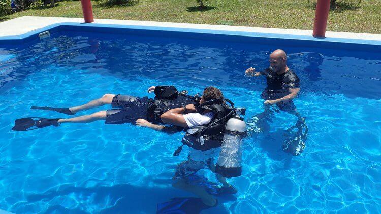 practising padi rescue diver skills in phuket