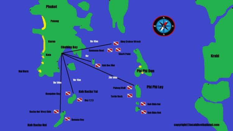 Phuket Diving Map