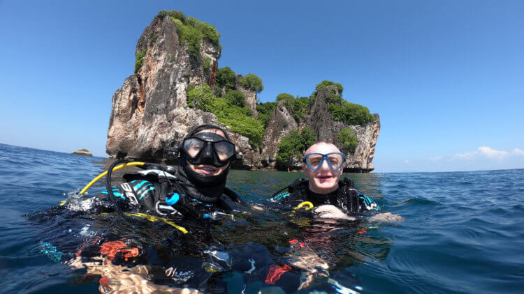 stunning scenery on the phi phi islands diving tour