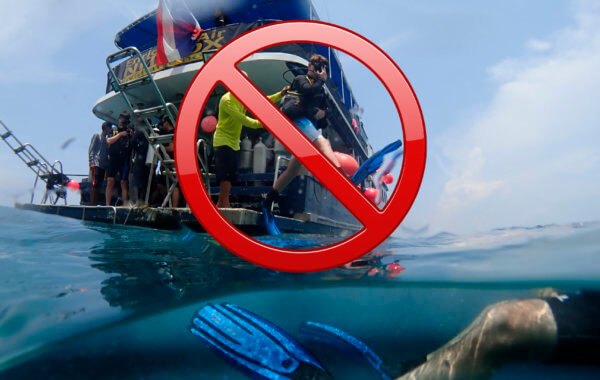 diving directly from liveaboards is now banned in the similan islands