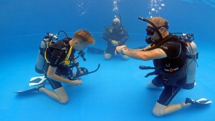 PADI open water diver in phuket practising skills